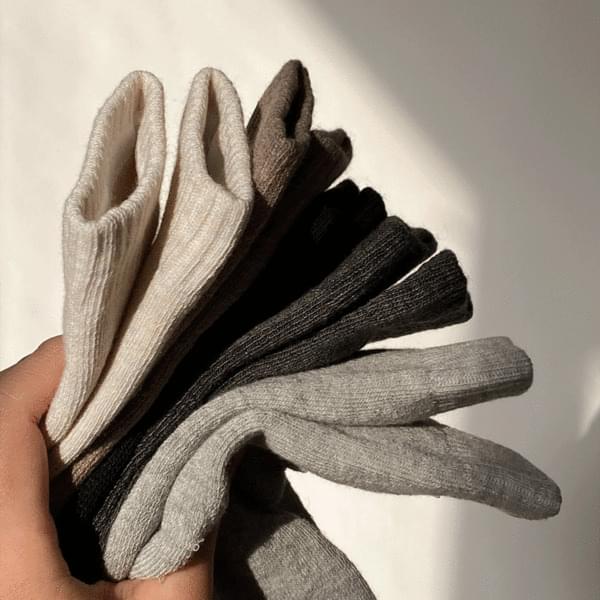 Thick Daily Winter Plain Socks 10 Piece Set 4color