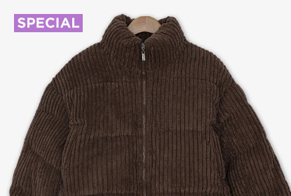 1 Brown Padded Jacket 16 Styling : Lotus High Neck Corduroy Padded Jumper