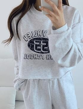Valley Crop SET ♥ Print Sweatshirt+ Wide Banding Pants Set Product