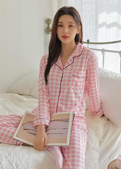 Basic Gingham Check Pajama Set