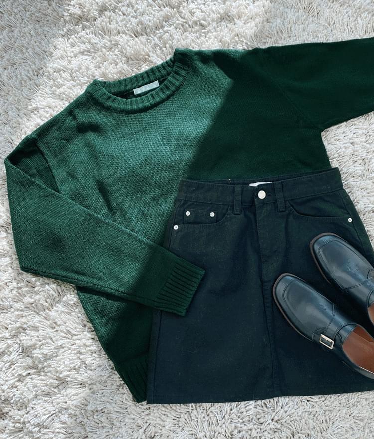ESSAYRibbed Edge Green Knit Top