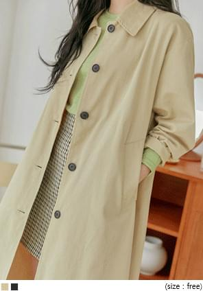 Spread Collar Single-Breasted Trench Coat
