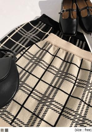 質感格紋針織迷你裙
