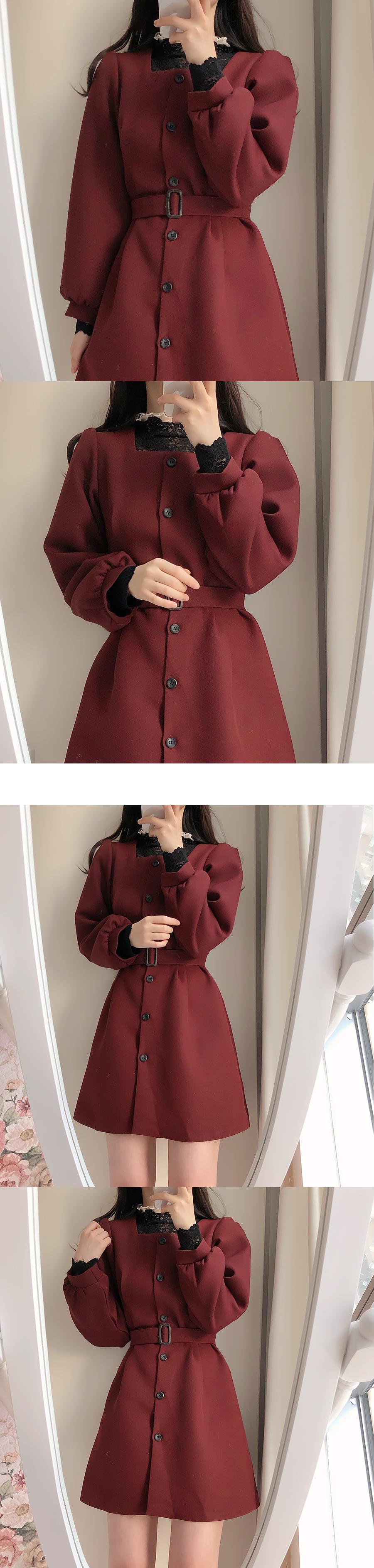 方領繫腰帶長袖小洋裝