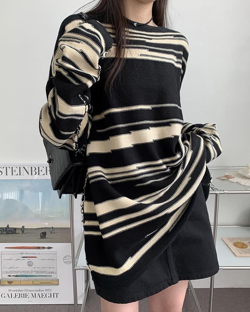 Humming Marble Stripe Unique Overfit Pattern Knitwear 針織衫