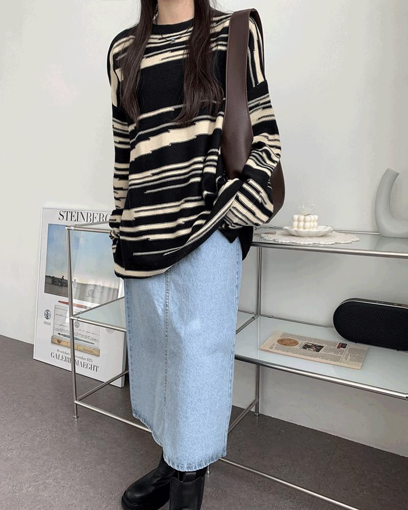 Luren Basic Back Split Long Denim Skirt スカート