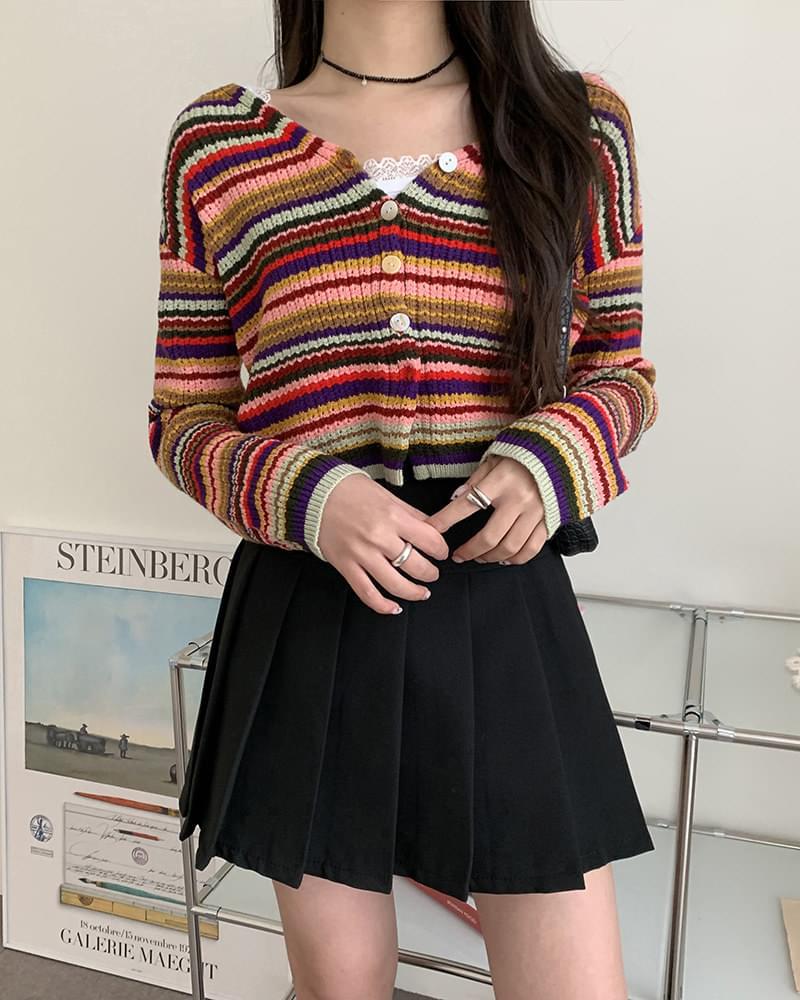 Tinker Rainbow Knitting Unique V-Neck Crop Cardigan 開襟衫