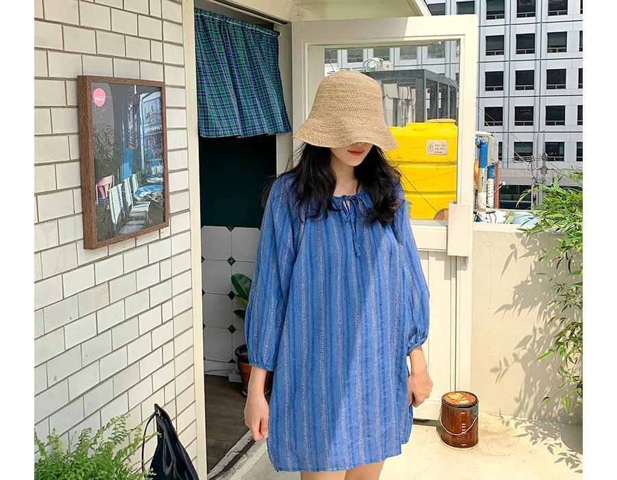 Bohemian linen mini dress
