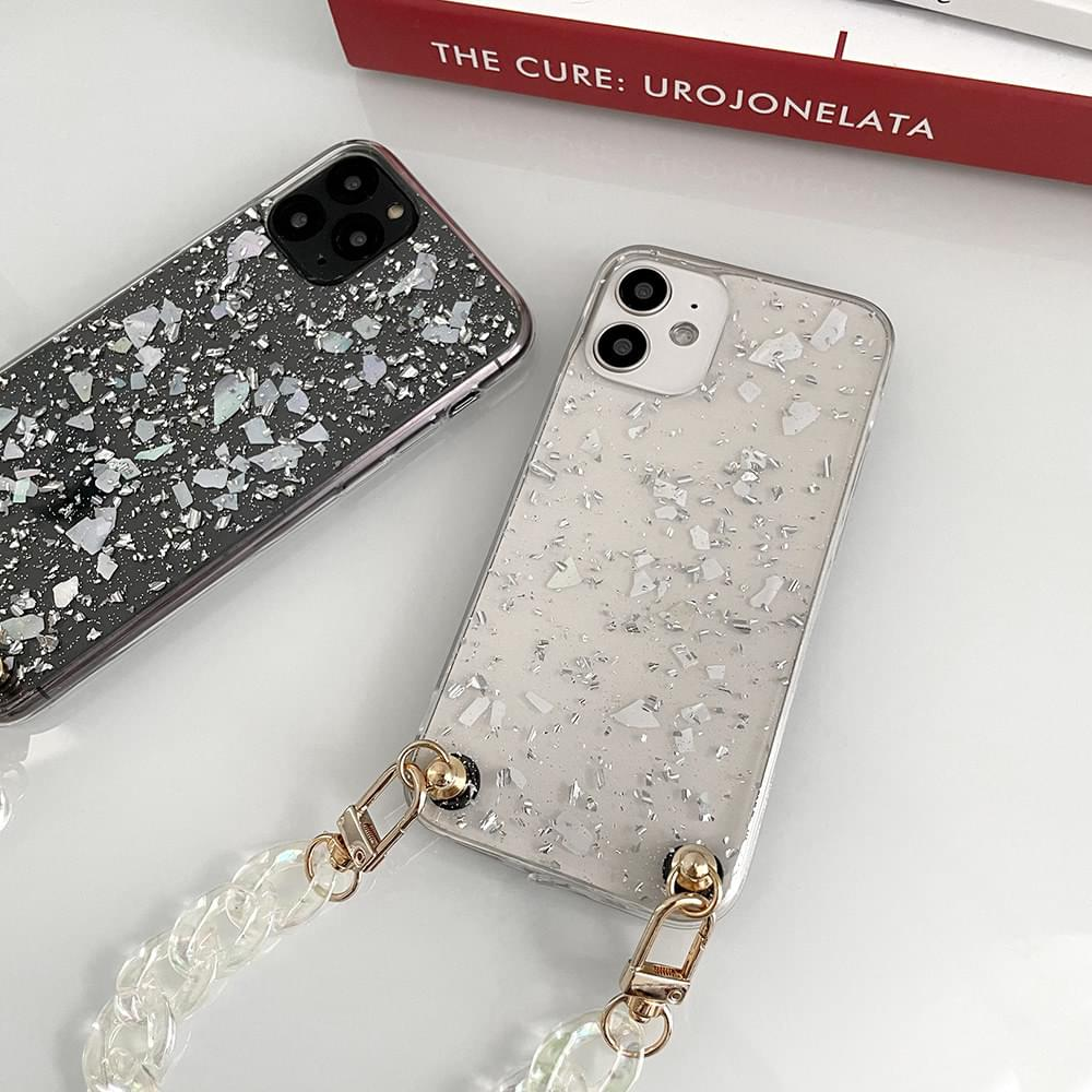 Mother-of-pearl glitter chain strap iPhone case 手機殼