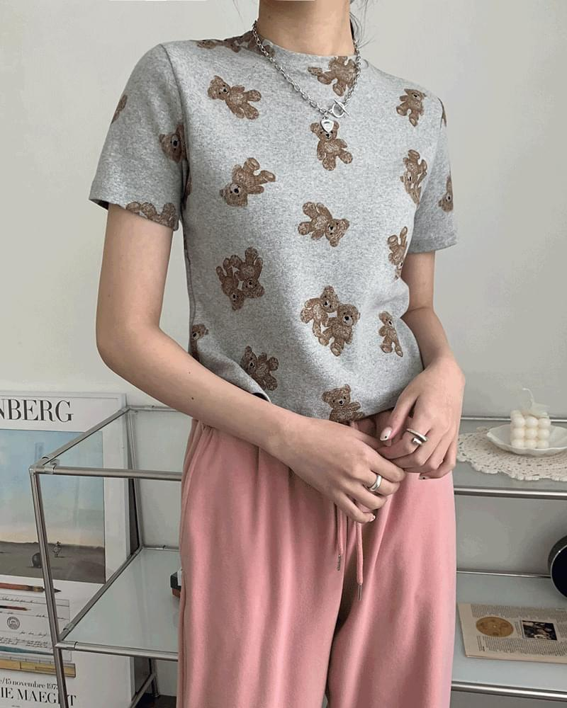 Popo Bear Teddy Bear Pattern Crop Short Sleeve T-shirt 短袖上衣