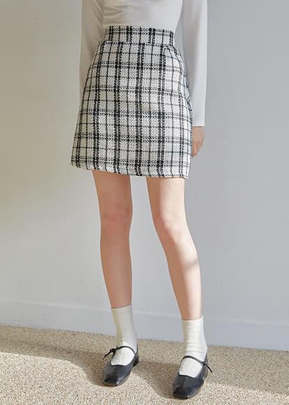 Coming Check Banding Mini Skirt