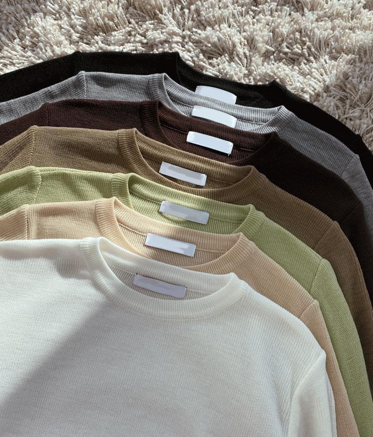 韓國空運 - ESSAYBasic Crew Neck Knit Top 針織衫