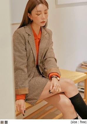 翻领夹克迷你半身裙格纹两件套