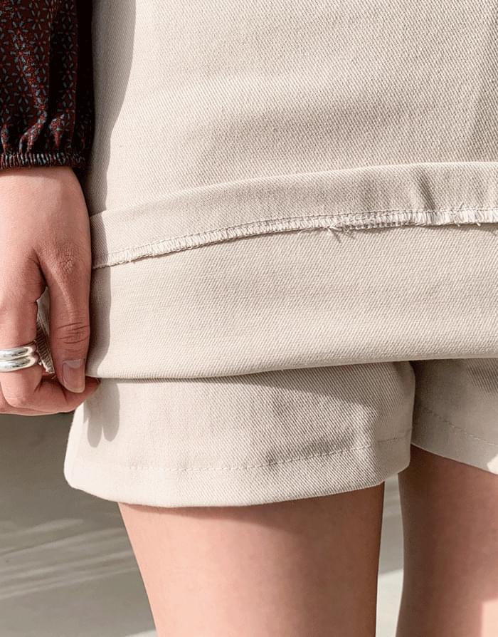 腰帶鬆緊腰迷你裙褲
