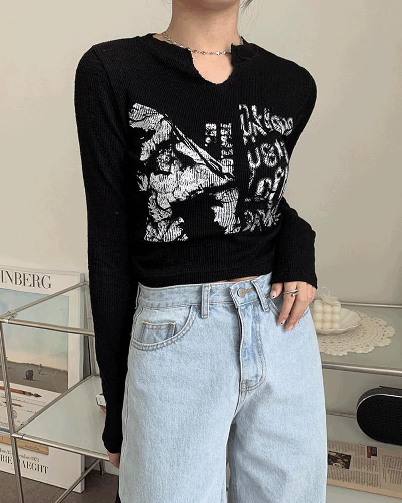 Barnell printed Ribbed split long sleeve cropped T-shirt 長袖上衣