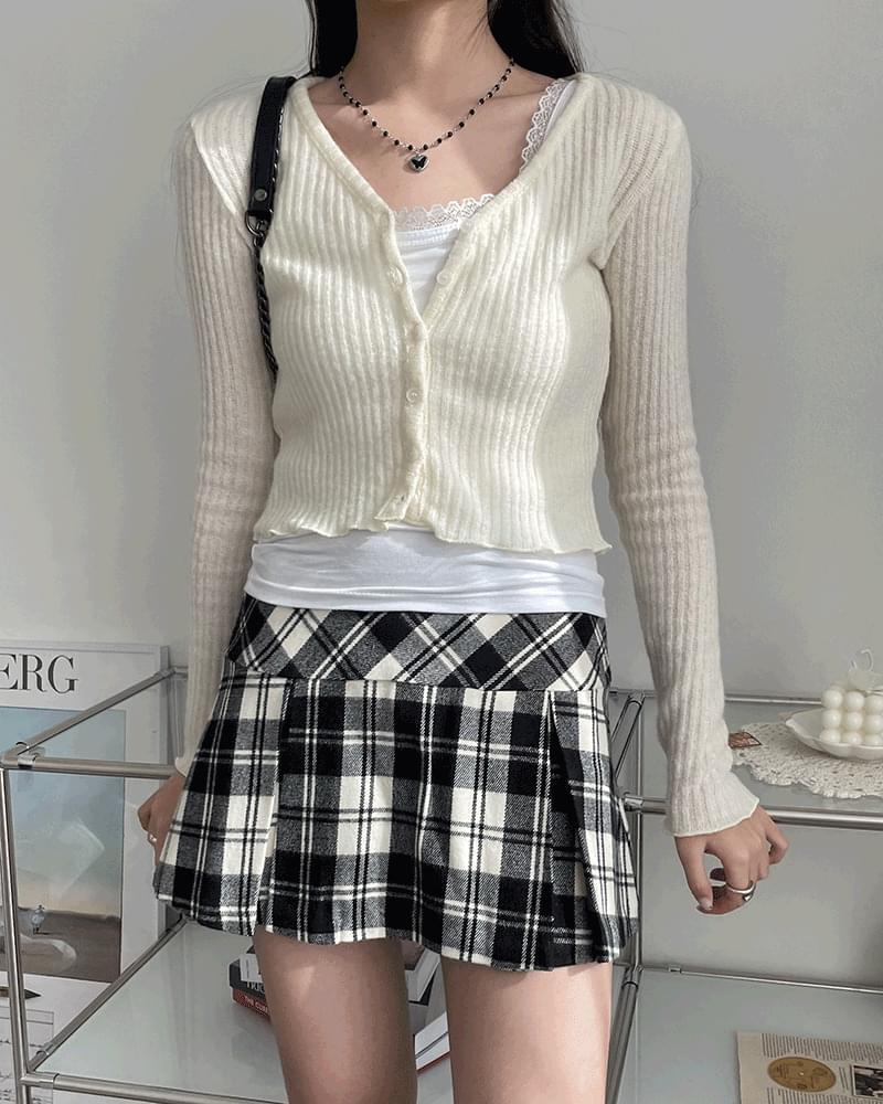 Louis wavy Ribbed wool cropped cardigan 開襟衫