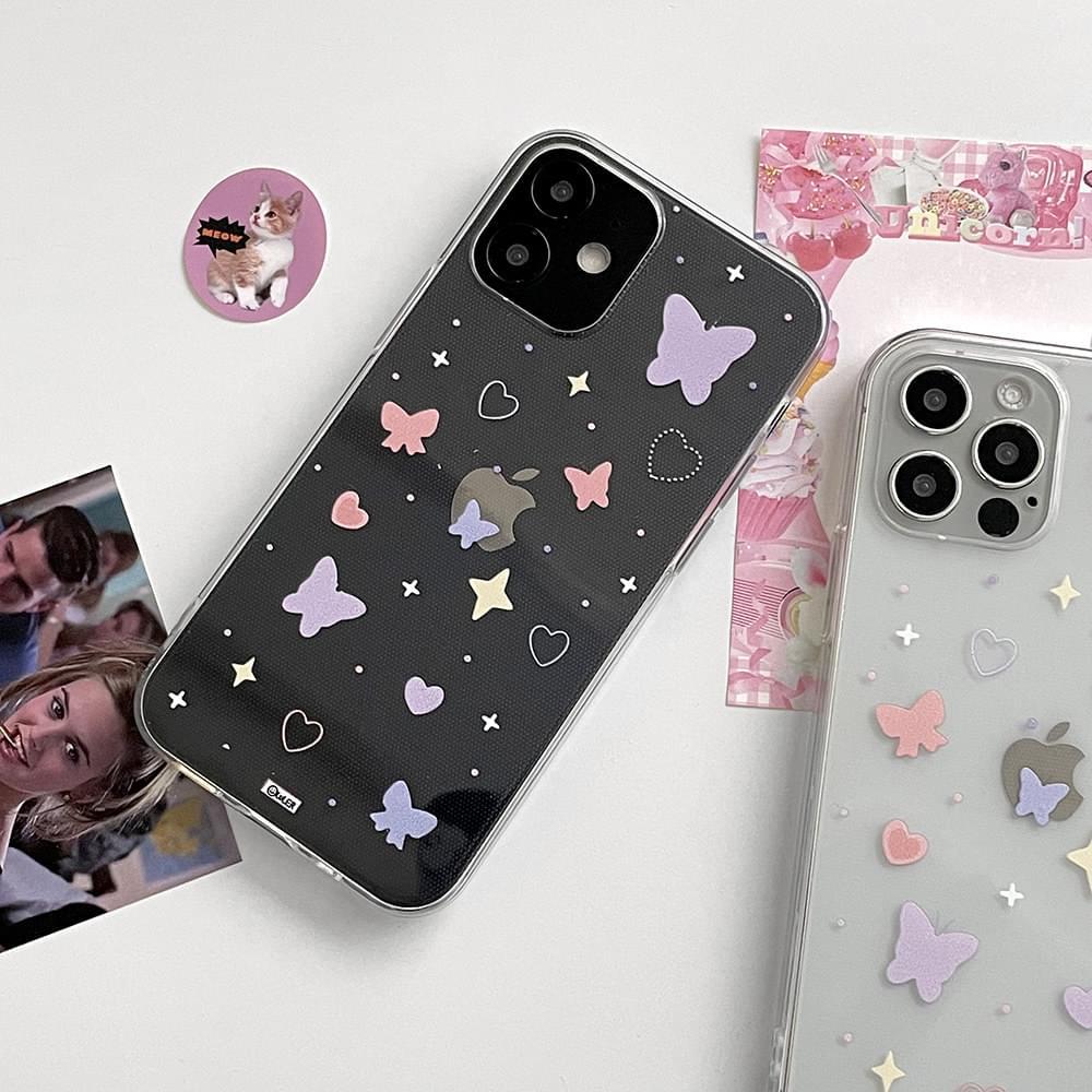 Pink Purple Heart Butterfly Pattern iPhone Case 手機殼