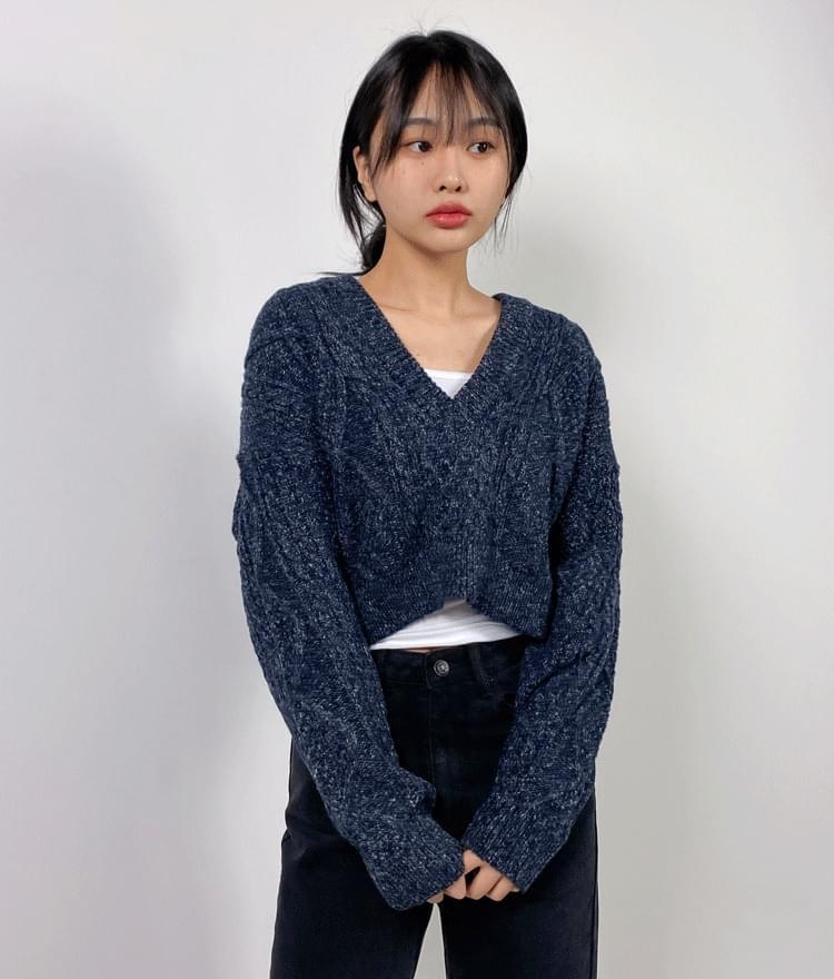 Shaded V Crop Knitwear knitwears