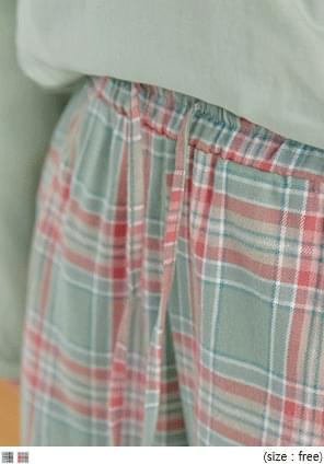MURON CHECK BANDING WIDE PANTS