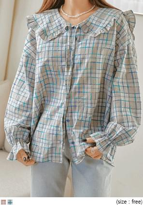 RICIAN CHECK SAILOR COLLAR BLOUSE