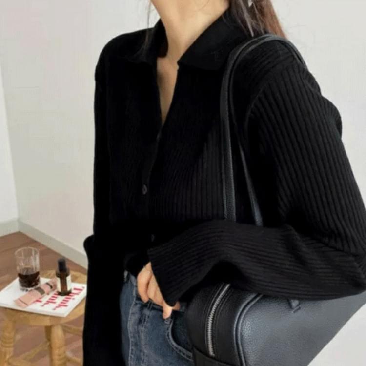Collar V-Neck Knitwear Cardigan Cardigan/Vest