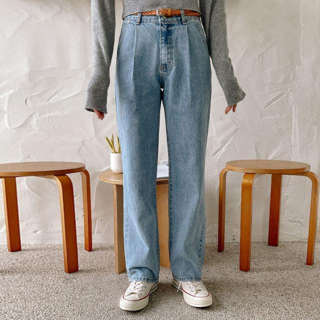 Chewing pintuck wide denim pants 牛仔褲