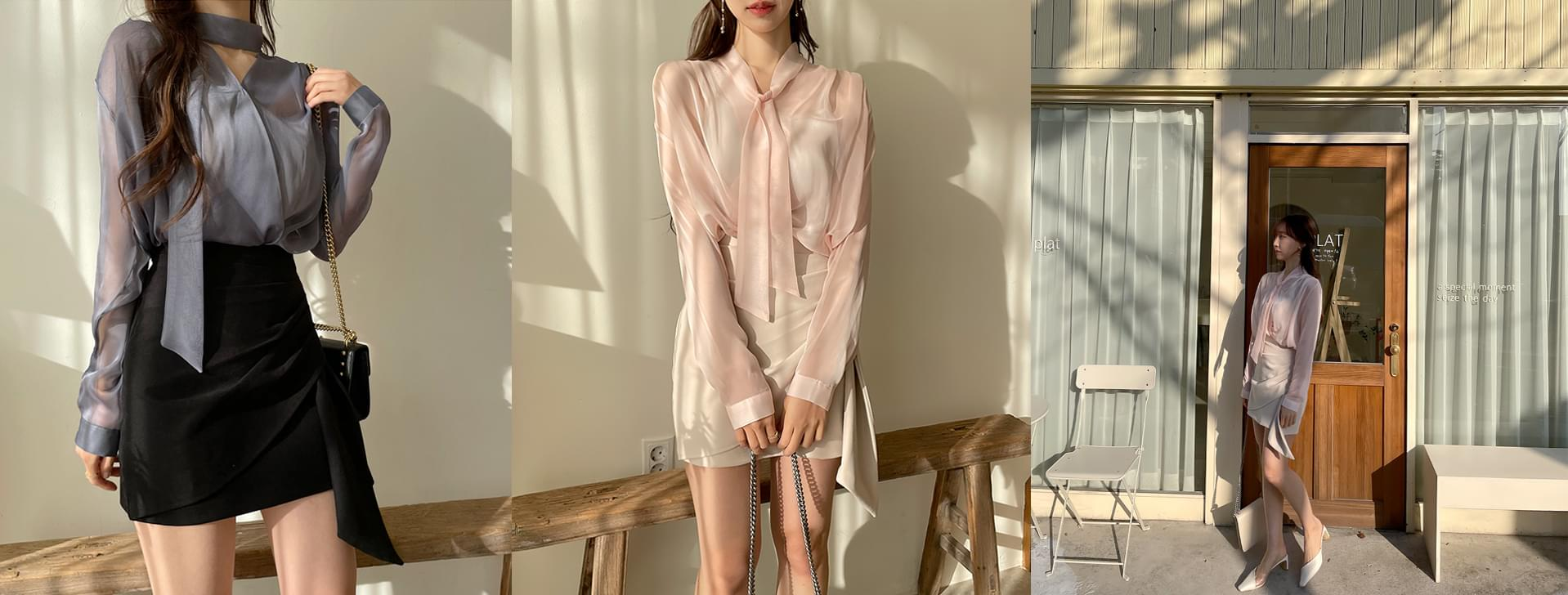 Volume see-through tie blouse 4color
