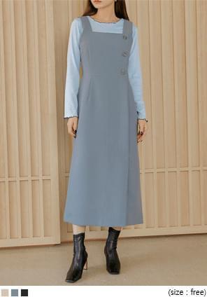 Button Accent A-Line Sleeveless Dress