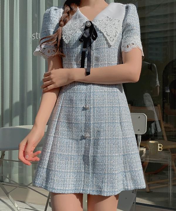 Black label tweed collar Dress 2color