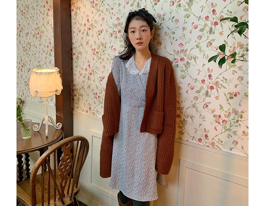 Lace Collar Flower Mini Dress