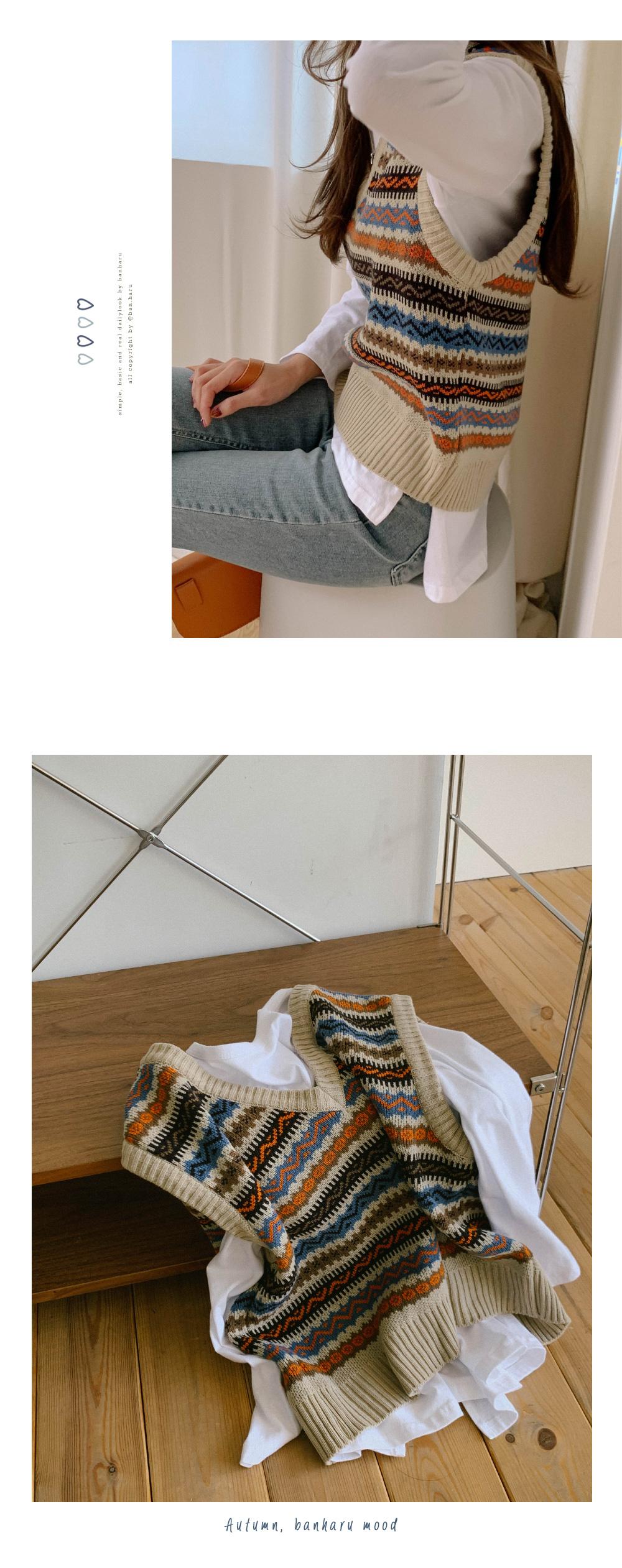 Jacquard Pattern Vintage Knit Vest