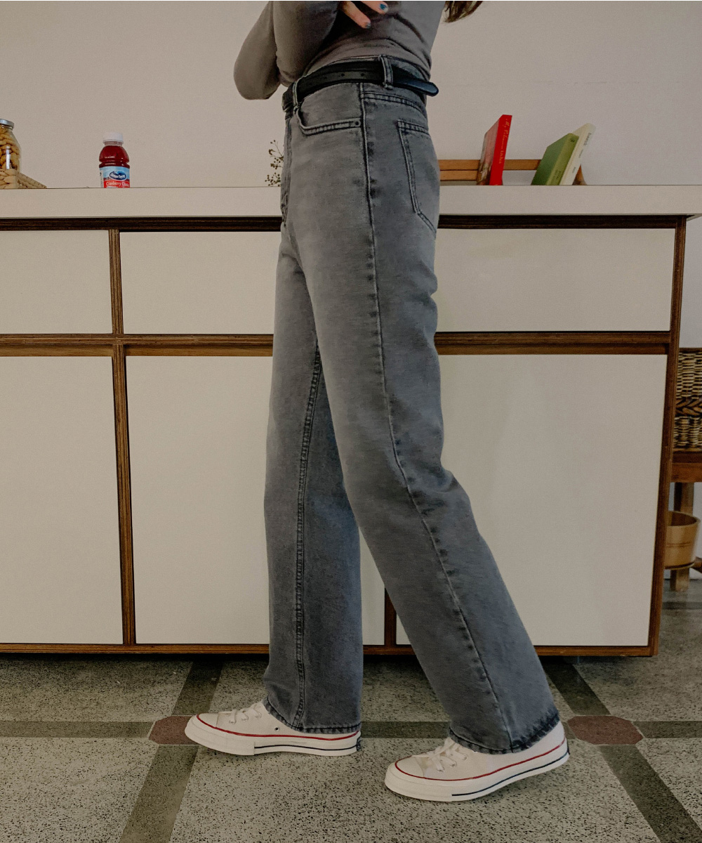 Vintage Faded Semi-Wide Fit Gray Jeans
