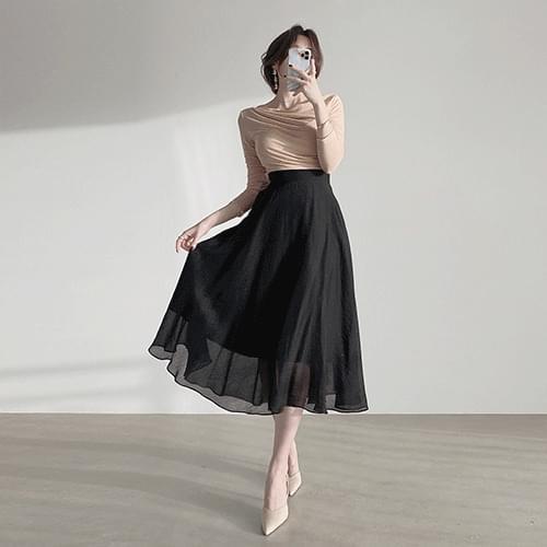 Chiffon Banding Flare Skirt 2color