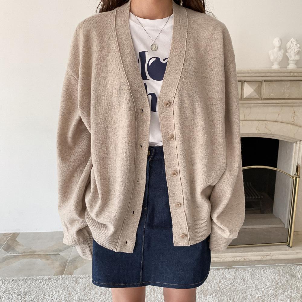 Lambs wool basic V-neck cardigan
