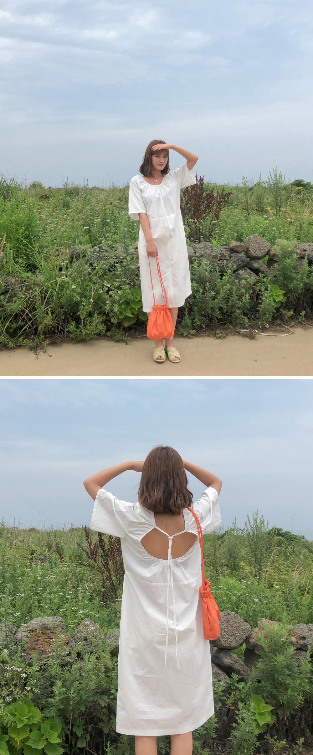 Back Open Strap Cotton Dress