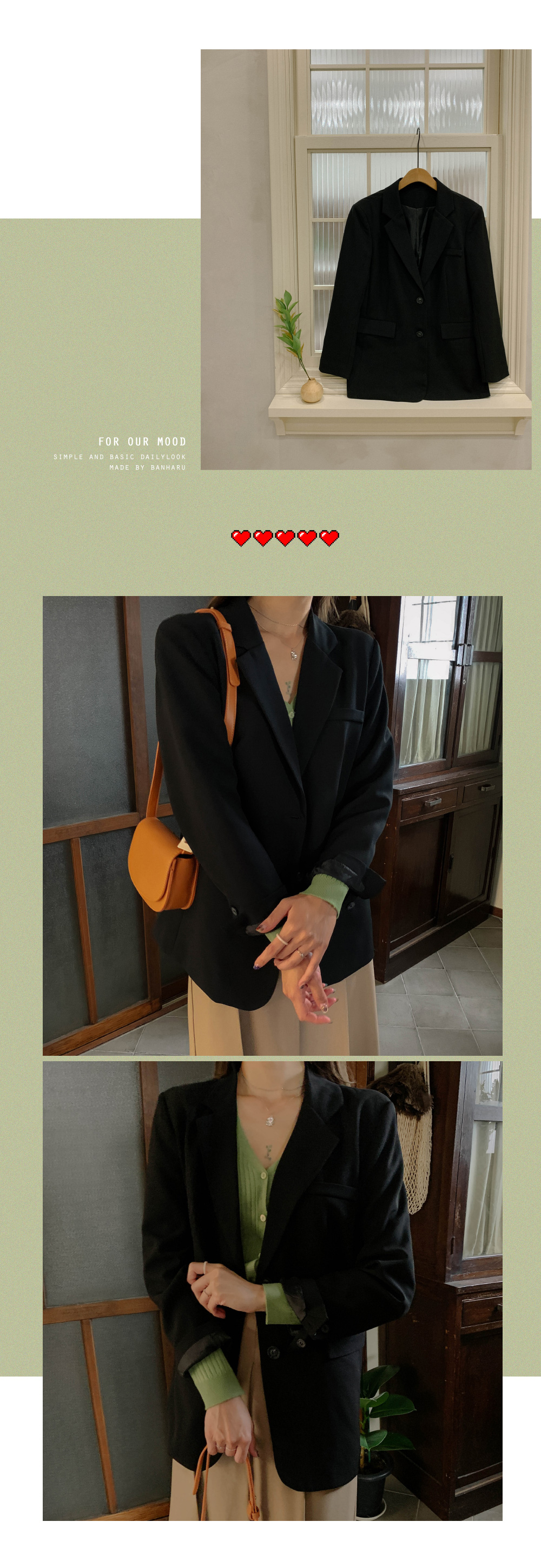 Semi-over fit slit two-button jacket