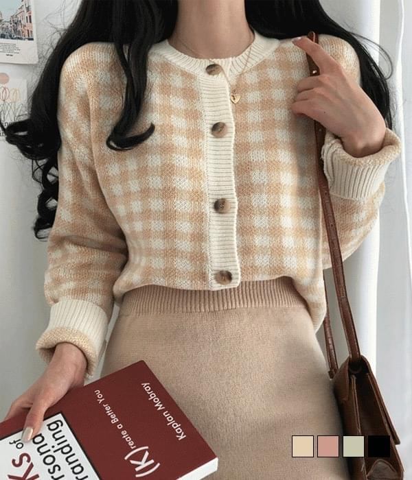 Jelly check cardigan (Delayed delivery)