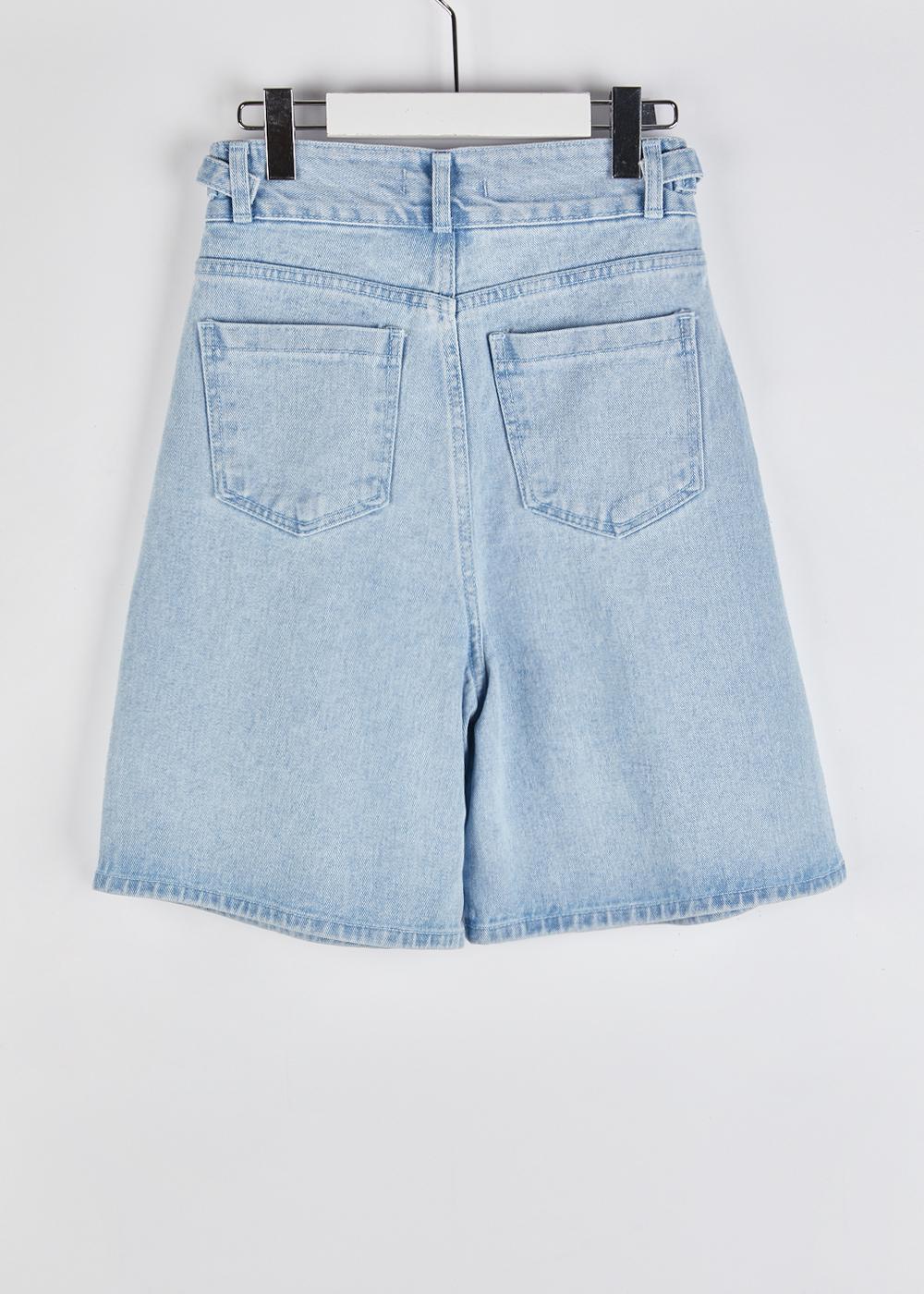Side belt denim short pants