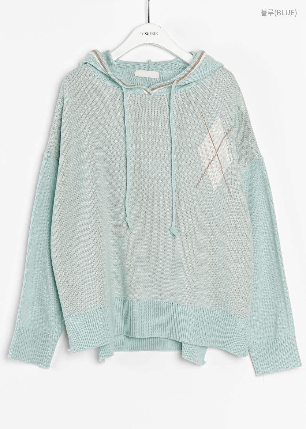Argyle hooded knit