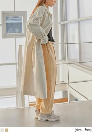 Button-Up Cotton Trench Coat