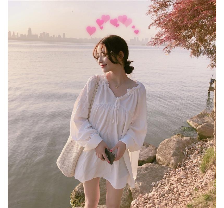 op0011 Cutie Balloon White Blouse Dress