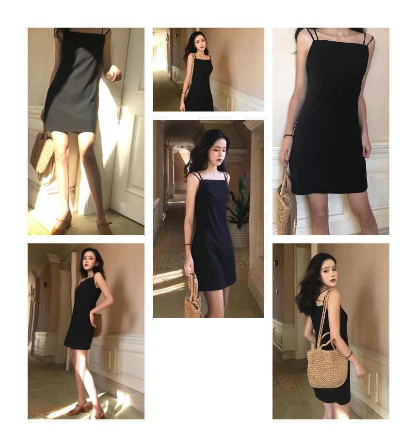 op0005 Two Sleeveless Strap Layered Black Mini Dress