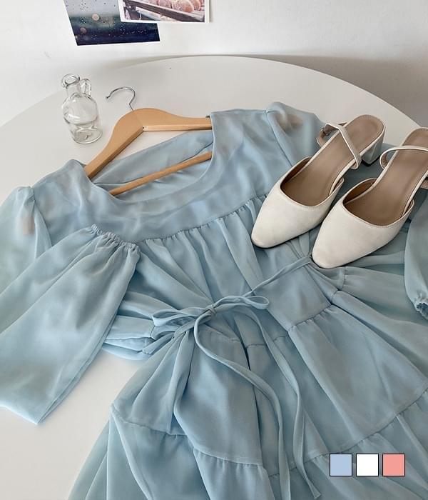 Shiny Cancan Waist Strap Chiffon Mini Dress 迷你短洋裝