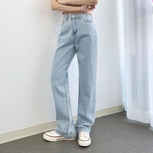 Vintage Light Blue Wide Denim Long Jeans 牛仔褲