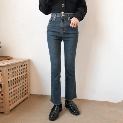 9529 semi-boots cutting denim pants 牛仔褲