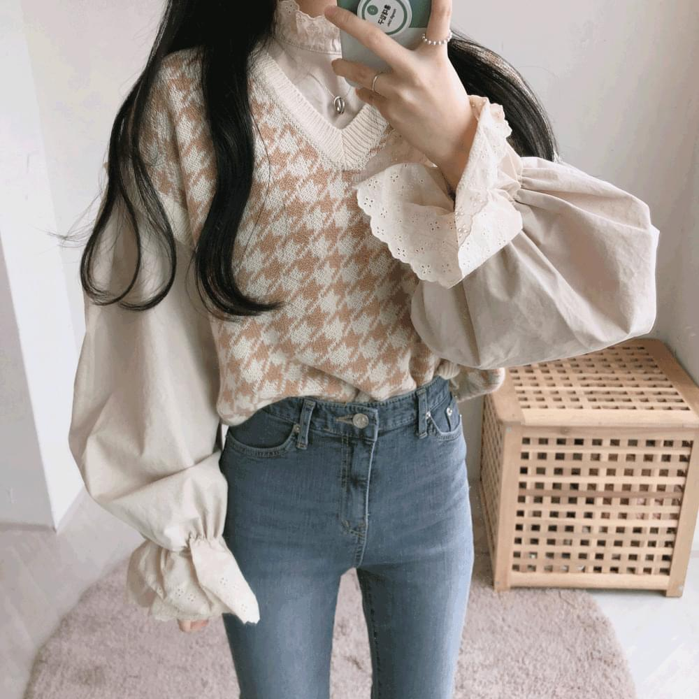 Pastel Check V-Neck Knitwear Vest