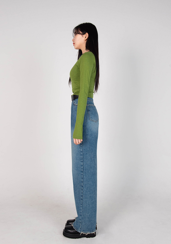 Split Neck Crop T-Shirt