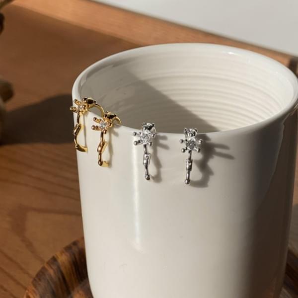 Teddy Bear Silver 925 Mini One Touch Ring Earrings