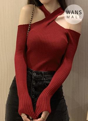 tt3394 off shoulder teuim Ribbed Knitwear