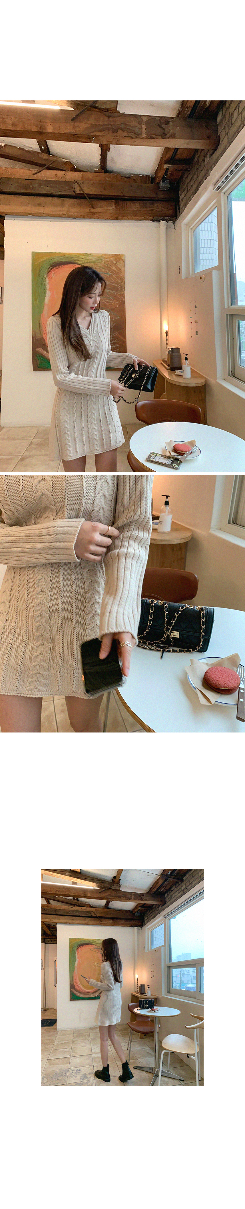 Particles Magenta Thin Fit Twisted Knitwear Dress